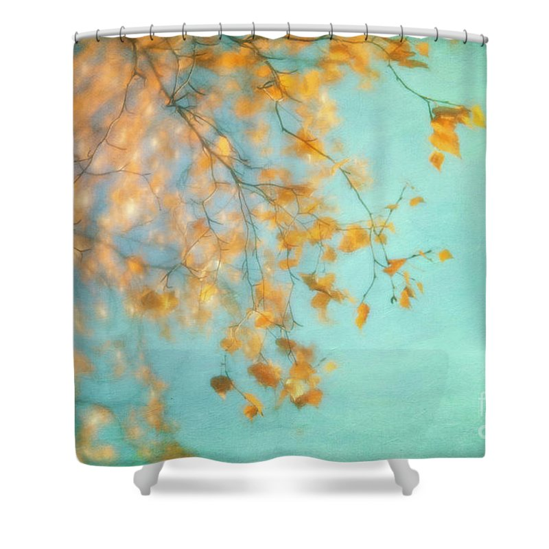 Golden Shower Curtain Featuring The Photograph Gold By Priska Wettstein