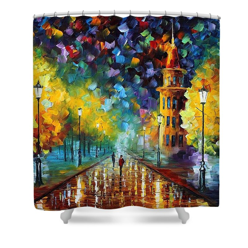 Afremov Shower Curtain featuring the painting Gold Winter by Leonid Afremov