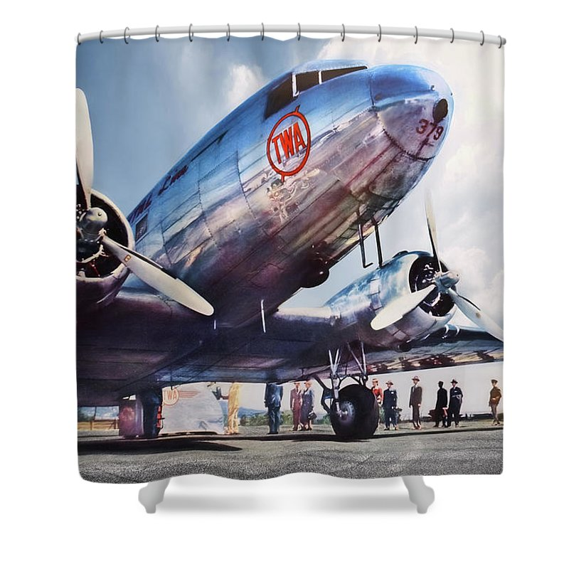 Golden Age Aviation Dc 3 Shower Curtain For Sale By Peter Chilelli