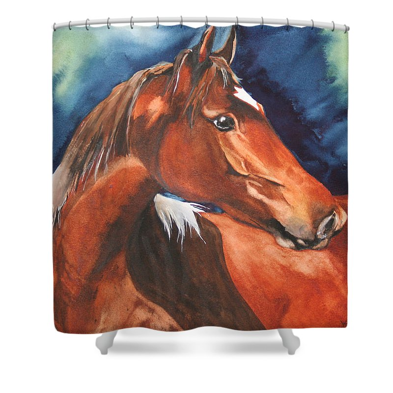 Horse Shower Curtain featuring the painting Golden Boy by Jean Blackmer
