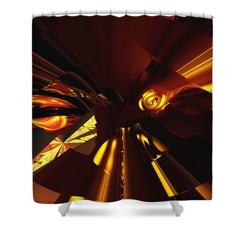 Abstract Shower Curtain featuring the digital art Golden Brown Abstract by David Lane