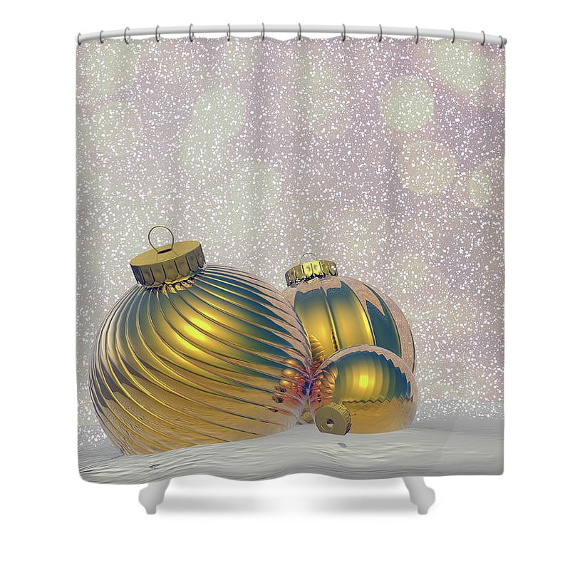 Christmas Shower Curtain featuring the digital art Golden Christmas Balls - 3d Render by Elenarts - Elena Duvernay Digital Art