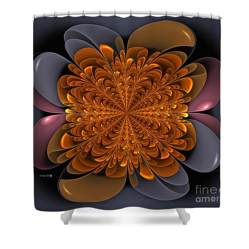 Dandelion Shower Curtain featuring the digital art Golden Dandelion by Shari Nees