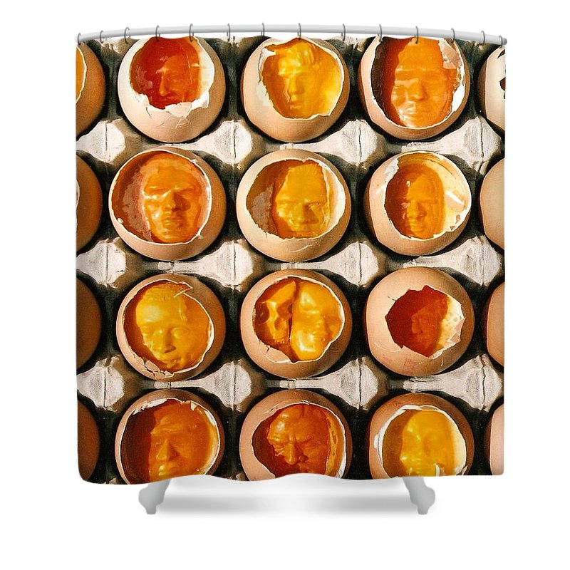 Eggs Shower Curtain featuring the sculpture Golden Eggs 2 by Mark Cawood