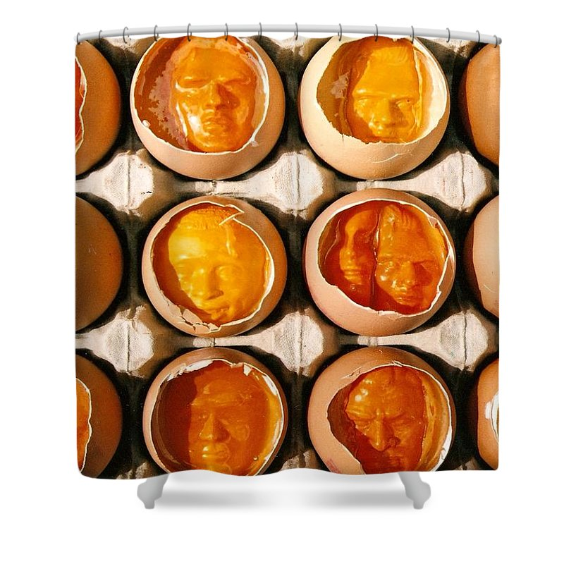 Eggs Shower Curtain featuring the sculpture Golden Eggs by Mark Cawood