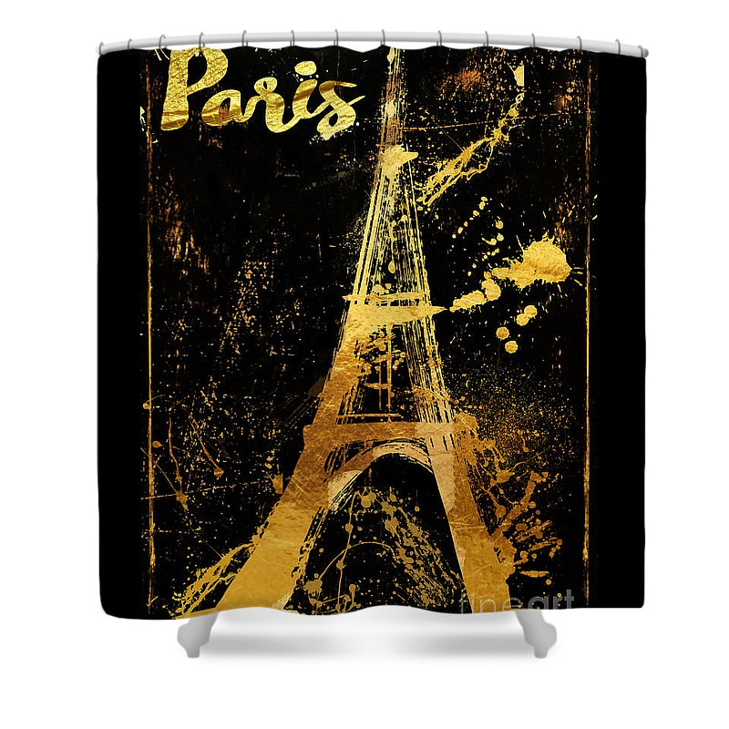 Eiffel Tower Shower Curtain featuring the painting Golden Eiffel Tower Paris by Mindy Sommers