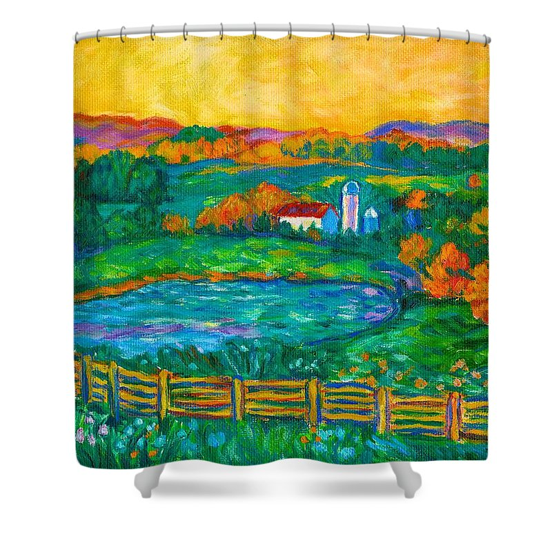 Landscape Shower Curtain featuring the painting Golden Farm Scene Sketch by Kendall Kessler
