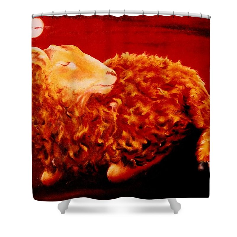 Sunset Shower Curtain featuring the painting Golden Fleece by Mark Cawood