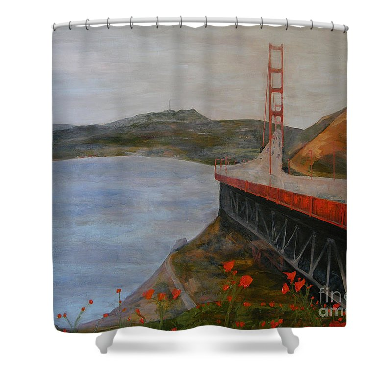 Golden Gate Bridge Shower Curtain featuring the painting Golden Gate Bridge by Ellen Beauregard