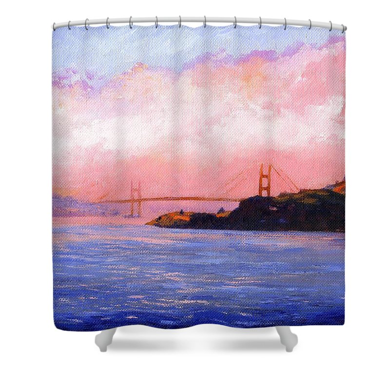 Landscape Shower Curtain featuring the painting Golden Gate Bridge by Frank Wilson