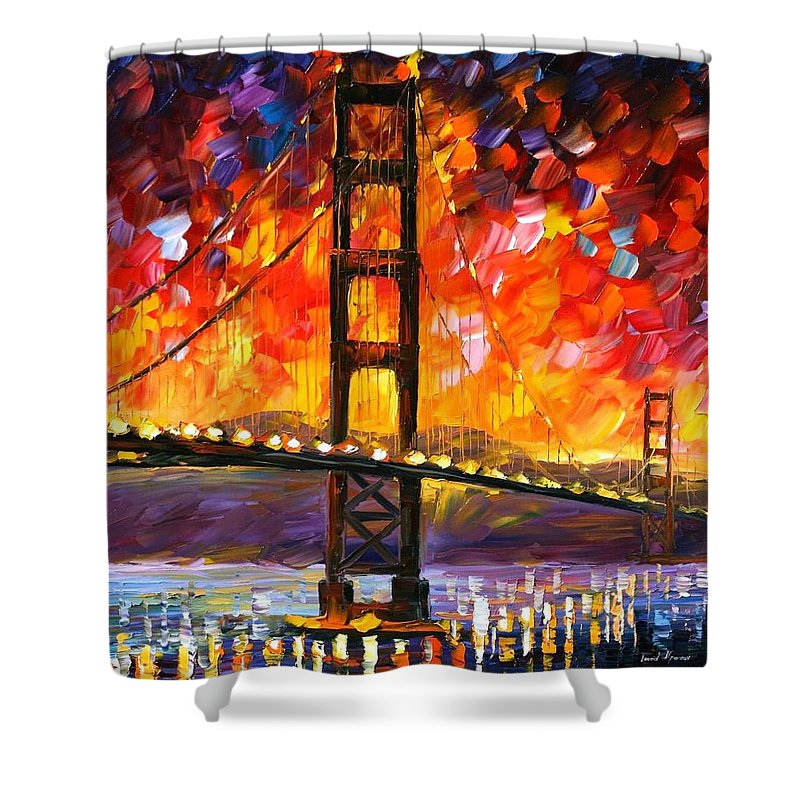 City Shower Curtain featuring the painting Golden Gate Bridge by Leonid Afremov