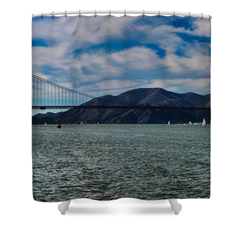 San Francisco Shower Curtain featuring the photograph Golden Gate Bridge Panoramic by Tommy Anderson