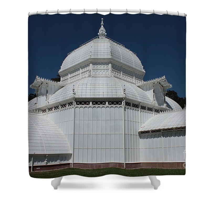 White Shower Curtain featuring the photograph Golden Gate Conservatory by Carol Groenen
