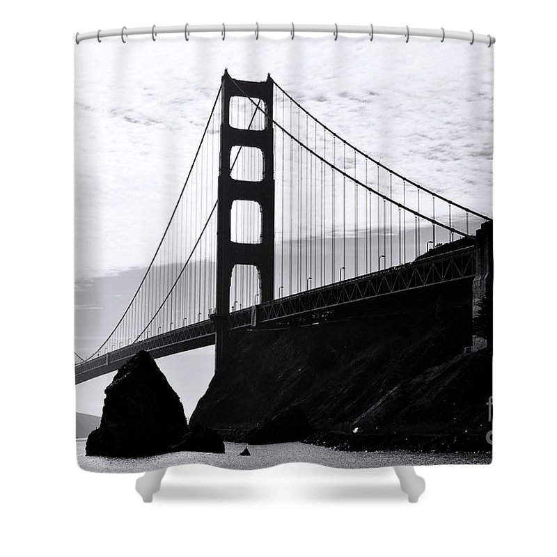 Golden Gate Bridge Shower Curtain featuring the painting Golden Gate by Rod Jellison