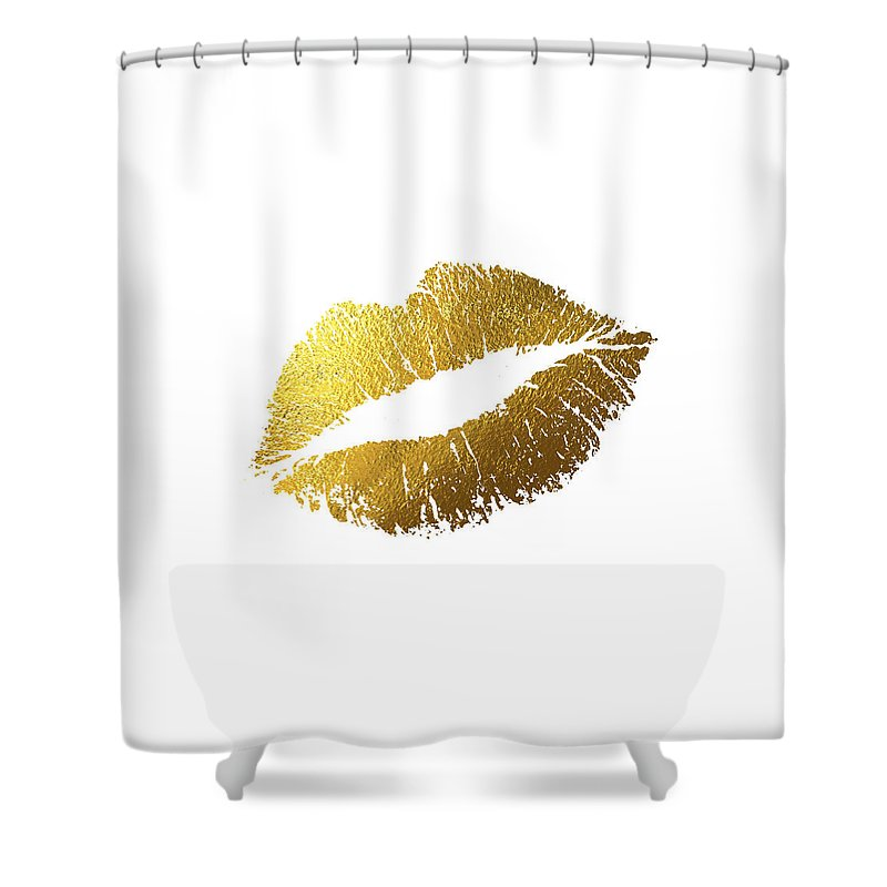 Gold Lips Shower Curtain
