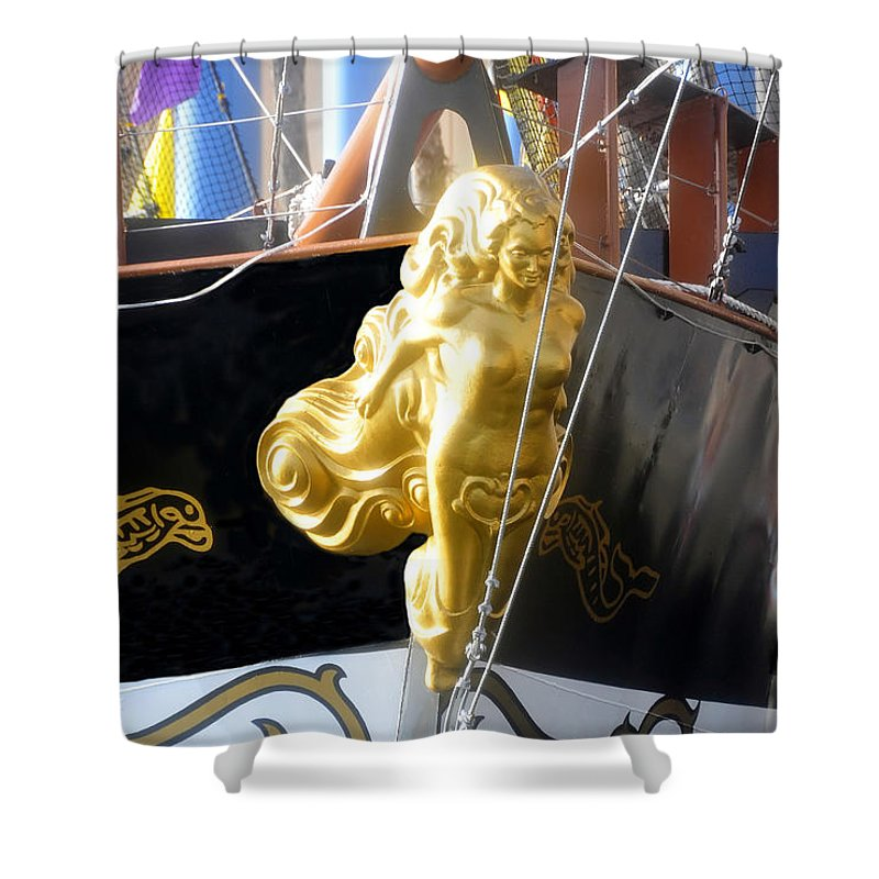 Ship Shower Curtain featuring the photograph Golden Girl Of Gasparilla by David Lee Thompson