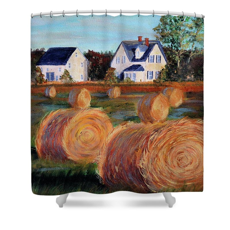 Little Sands Shower Curtain featuring the painting Golden Glow by Lorraine Vatcher