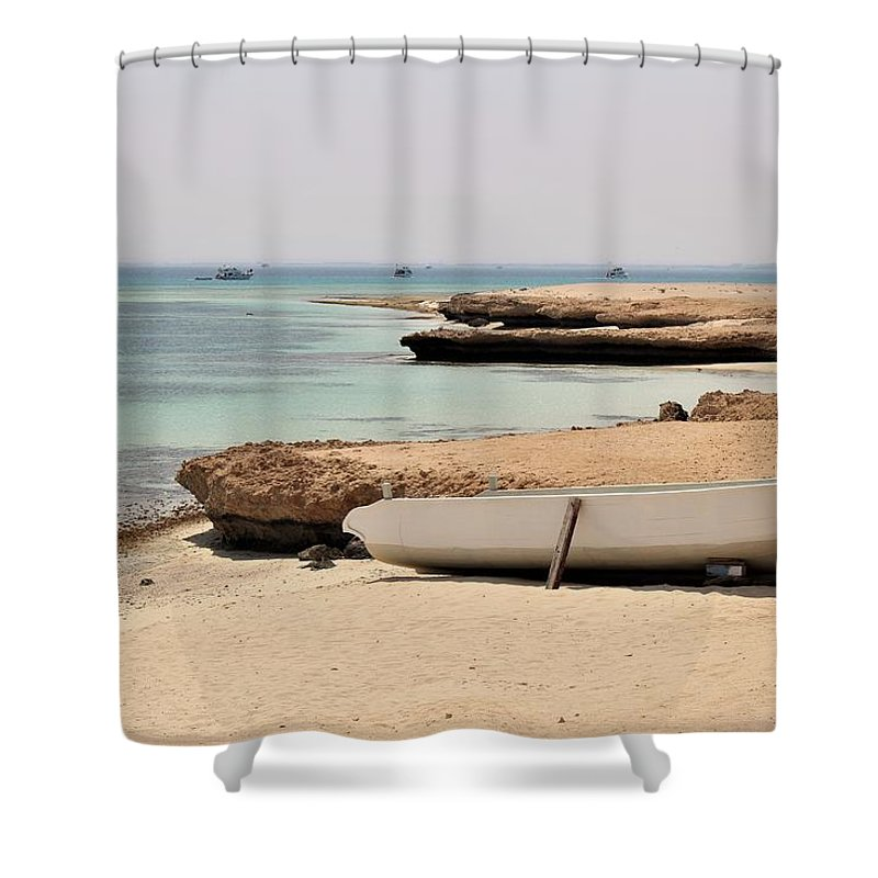 Landscape Shower Curtain featuring the photograph Golden Island by Dave Lees