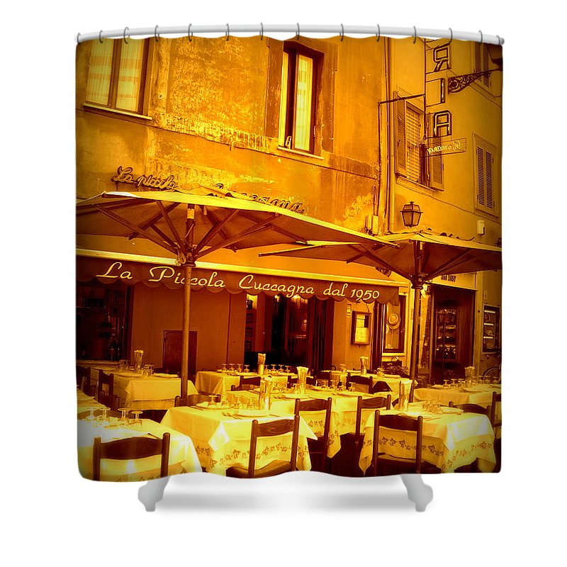 Italy Shower Curtain featuring the photograph Golden Italian Cafe by Carol Groenen