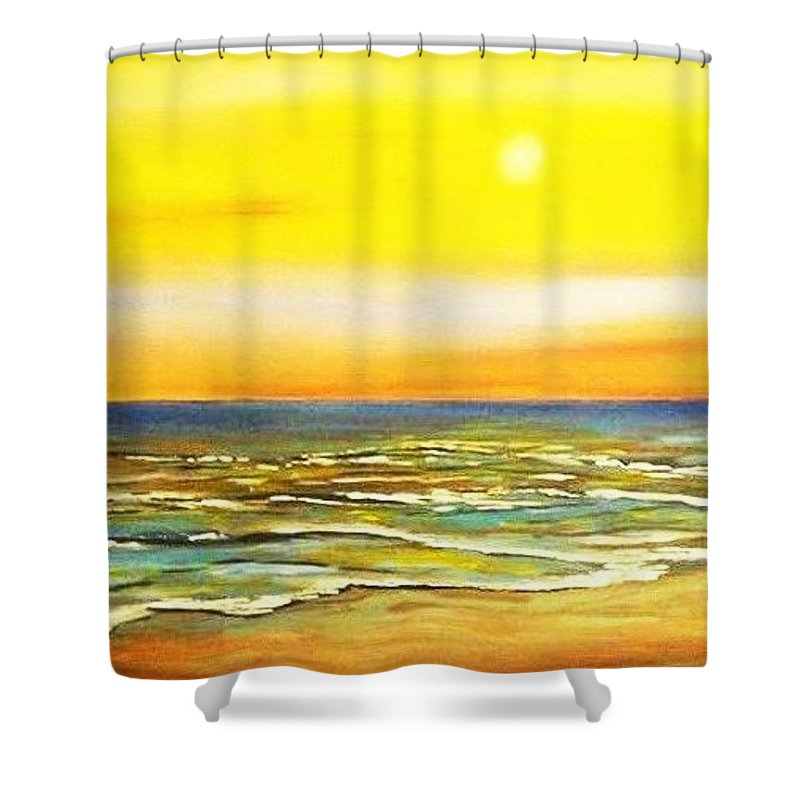 Ocean Shower Curtain featuring the painting Sunset Beach by Dawn Hawkins