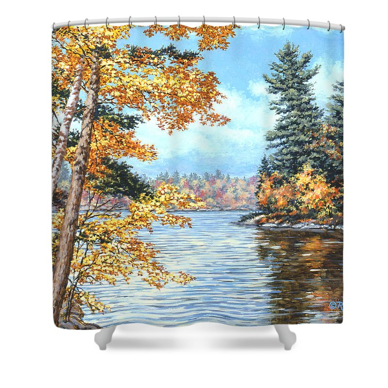Autumn Shower Curtain featuring the painting Golden Lake by Richard De Wolfe