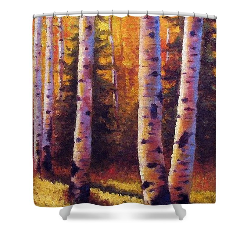 Light Shower Curtain featuring the painting Golden Light by David G Paul