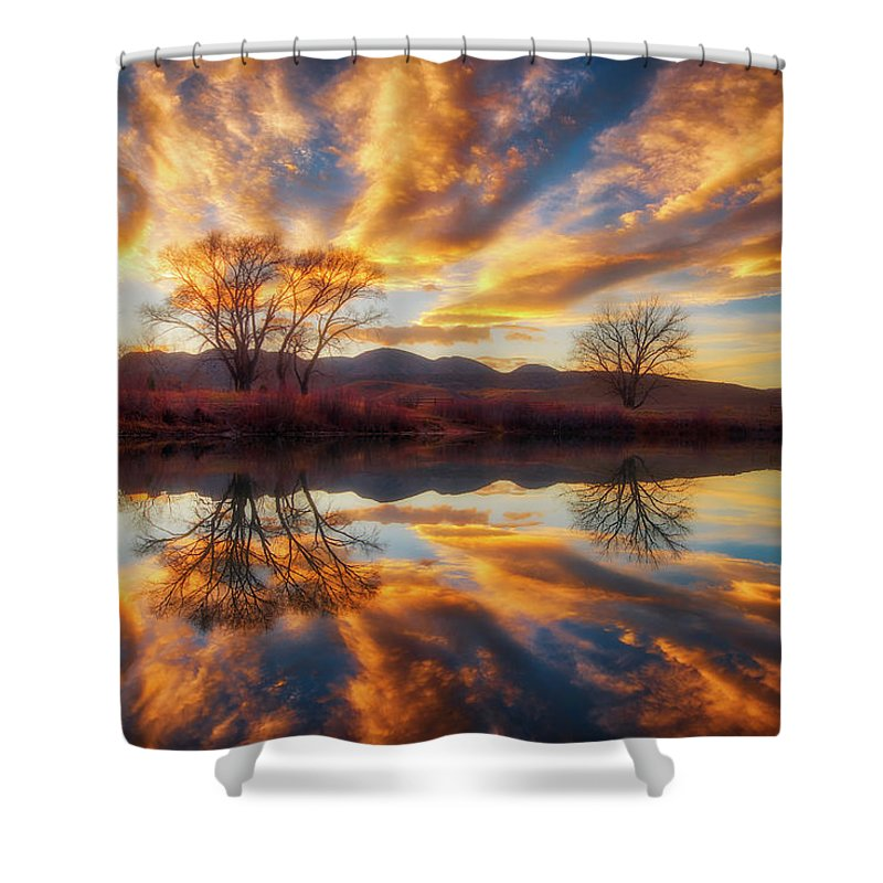 Colorado Shower Curtain featuring the photograph Golden Light On The Pond by Darren White