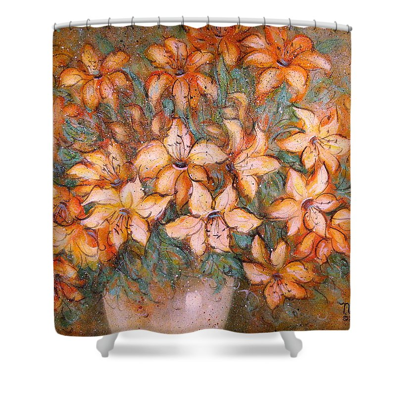 Yellow Lilies Shower Curtain featuring the painting Golden Lilies by Natalie Holland
