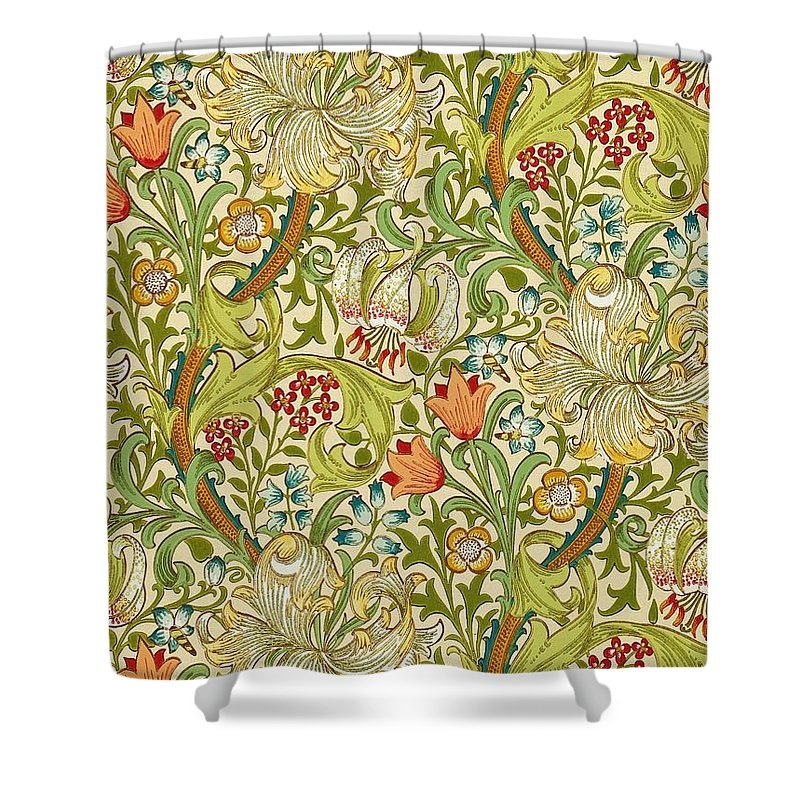 William Morris Shower Curtain Featuring The Painting Golden Lily By