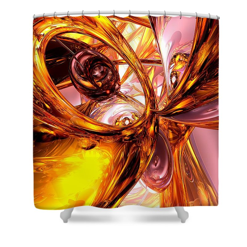 3d Shower Curtain featuring the digital art Golden Maelstrom Abstract by Alexander Butler