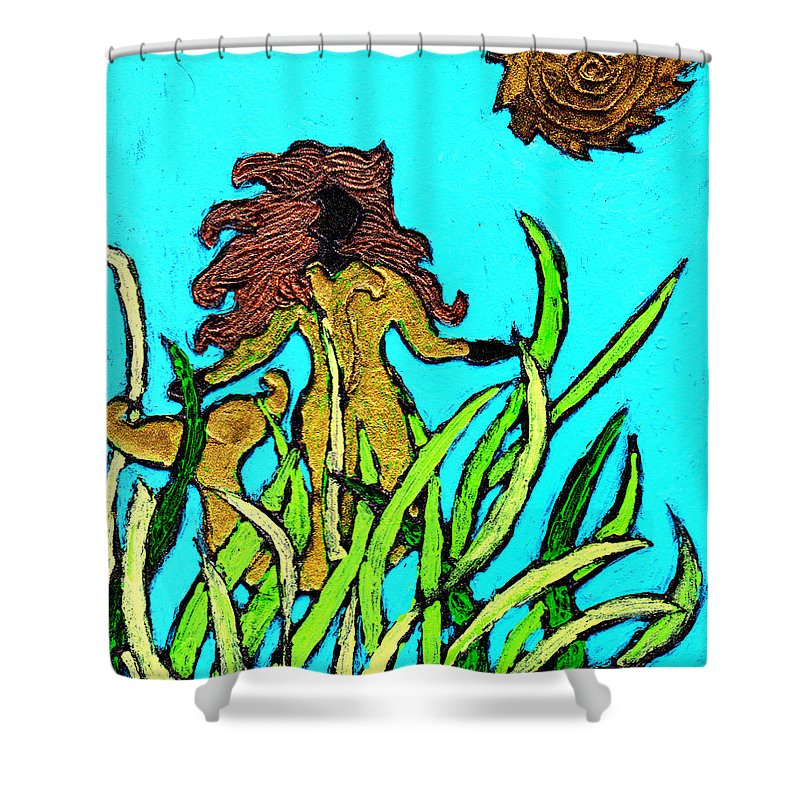 Mermaid Shower Curtain featuring the painting Golden Mermaid by Wayne Potrafka