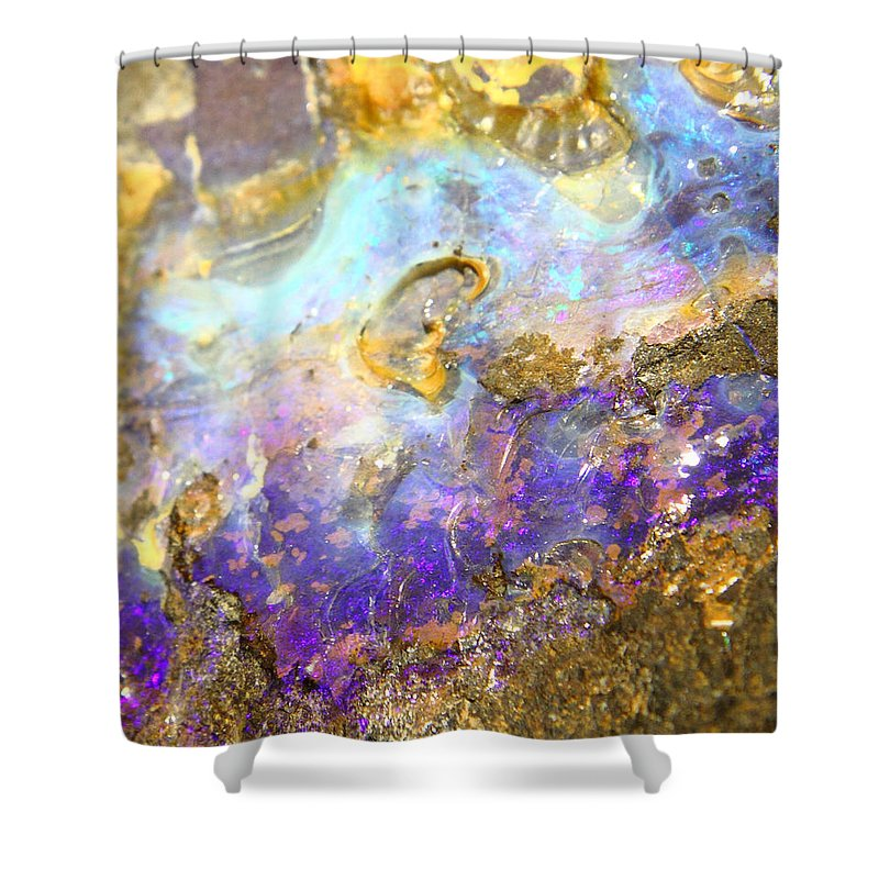 Shimmery Blue & Purple Opal Encrusted In Gold Shower Curtain featuring the photograph Golden Opal by The Quarry