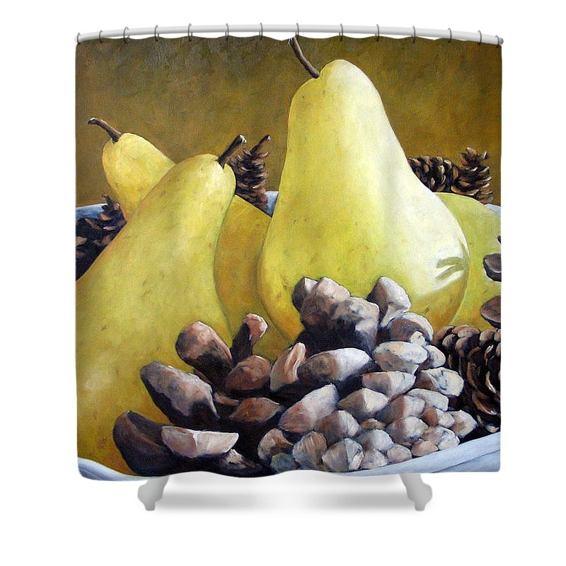 Canadian Shower Curtain featuring the painting Golden Pears And Pine Cones by Richard T Pranke