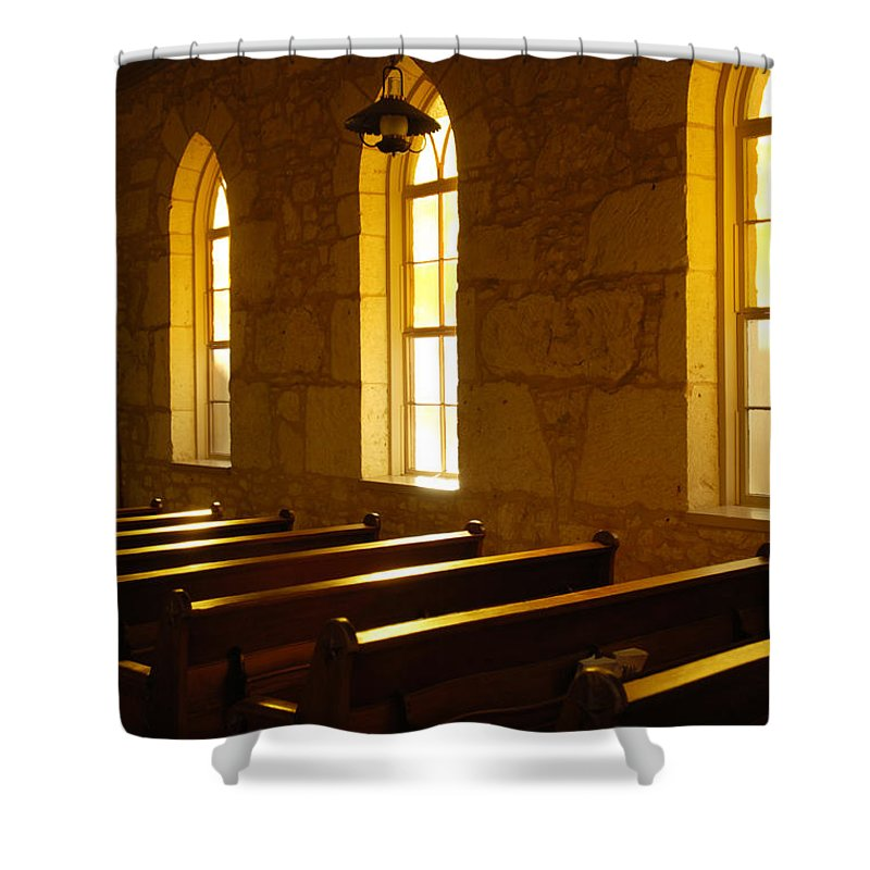 Worship Shower Curtain featuring the photograph Golden Pews by Jill Reger