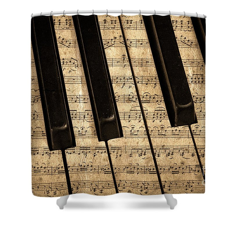 Piano Shower Curtain featuring the photograph Golden Pianoforte Classic by John Stephens