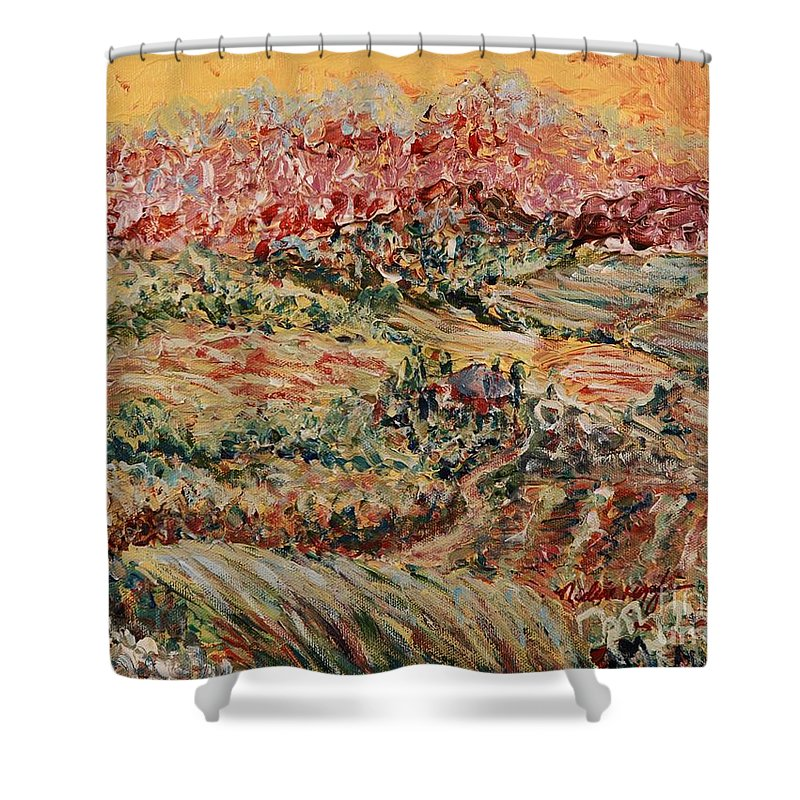 Provence Shower Curtain featuring the painting Golden Provence by Nadine Rippelmeyer