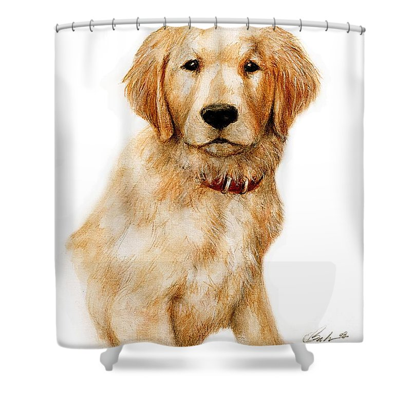 Dog Art Puppy Bruce Lennon Shower Curtain featuring the painting Golden Pup by Bruce Lennon