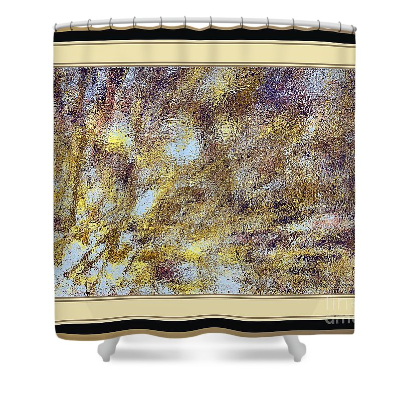 Abstract Shower Curtain featuring the mixed media Golden Rain by Michael Mirijan