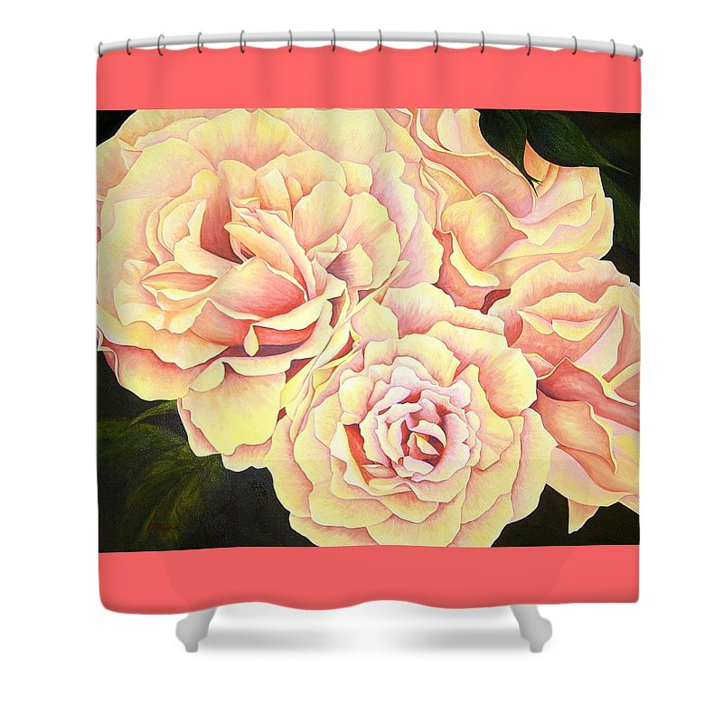 Roses Shower Curtain featuring the painting Golden Roses by Rowena Finn