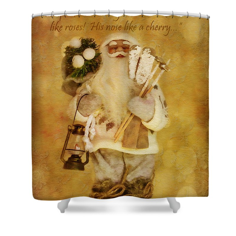 Holiday Shower Curtain featuring the digital art Golden Santa Card 2015 by Kathryn Strick