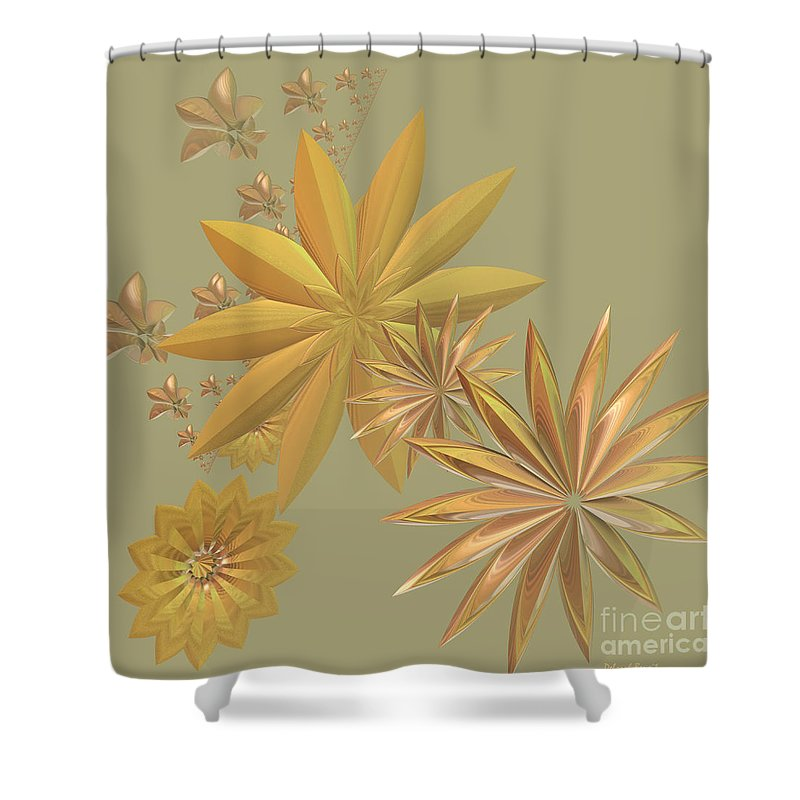 Stars Shower Curtain featuring the digital art Golden Stars by Deborah Benoit