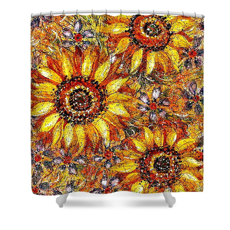 Sunflowers Shower Curtain featuring the painting Golden Sunflower by Natalie Holland