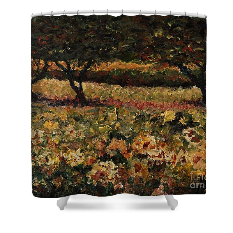 Landscape Shower Curtain featuring the painting Golden Sunflowers by Nadine Rippelmeyer