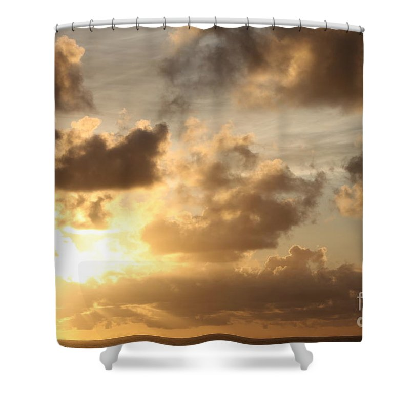 Sunrise Shower Curtain featuring the photograph Golden Sunrise On Kauai by Nadine Rippelmeyer