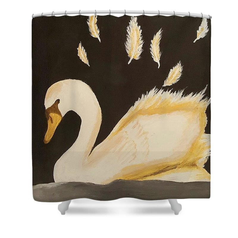 Golden Swan Shower Curtain For Sale By Mandira Gowda