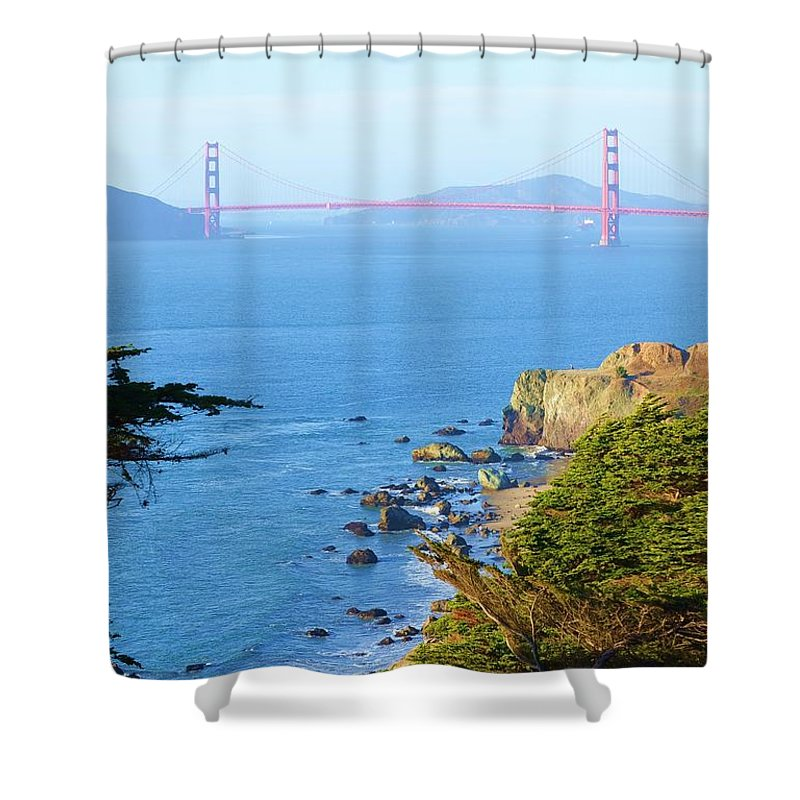 Golden Gate Bridge Shower Curtain featuring the photograph Golden View 142 by Remegio Dalisay