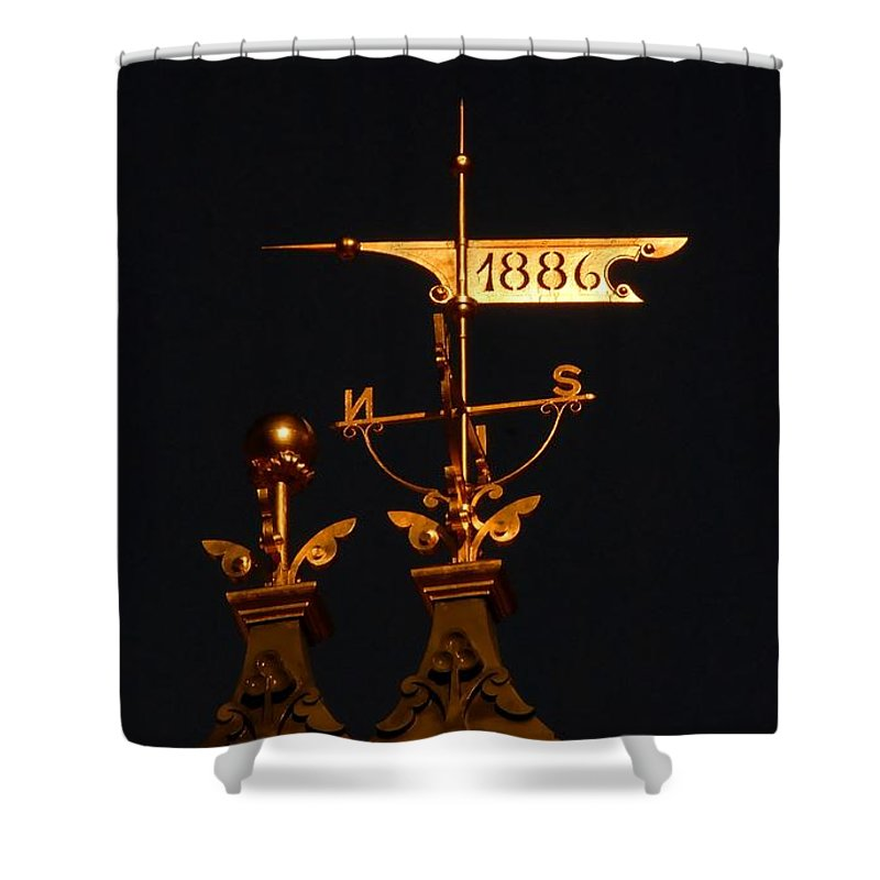 Wind Vain Shower Curtain featuring the photograph Golden Wind Vain by David Lee Thompson