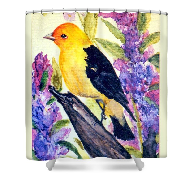 Birds Shower Curtain featuring the painting Goldfinch by Gail Kirtz