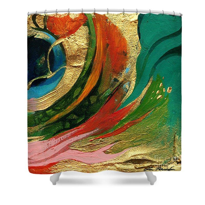 Lin Petershagen Shower Curtain featuring the painting Goldy by Lin Petershagen