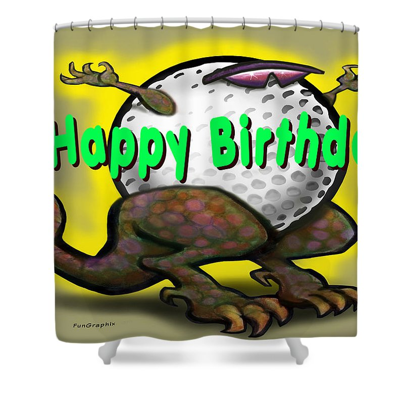 Golf Shower Curtain featuring the greeting card Golf A Saurus Birthday by Kevin Middleton